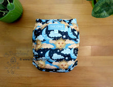 Load image into Gallery viewer, Sun Moon Stars Cloth Diaper -Chickadee Large -WAHM toddler AIO -celestial space -starry night sky -cloud dream all in one -hemp bamboo modern cloth -Made in USA