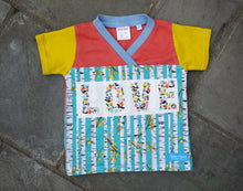 Load image into Gallery viewer, Easy-on 2T kid shirt -LOVE toddler shirt - comfy toddler top -floral coral girl top -birch tree- crossover v neck -organic cotton kid top -stripes