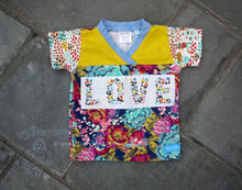 Load image into Gallery viewer, Easy-on 2T kid shirt -LOVE toddler shirt - comfy toddler top -floral blooms girl top -bright boho- crossover v neck -organic cotton kid top -garden