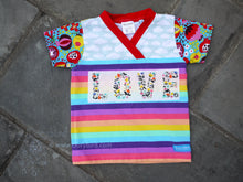 Load image into Gallery viewer, Easy-on 3T kid shirt -LOVE toddler shirt -comfy toddler top -cloud floral top -rainbow stripe- crossover v neck -cotton baby top -3rd birthday gift