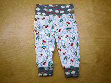 Load image into Gallery viewer, Cherry Rainbow Clouds Baby Pants -6 months Rainbow Baby Pants -Cloth Diaper Pants - Dorybird knit cotton kid pants -comfy baby joggers -baby shower gift