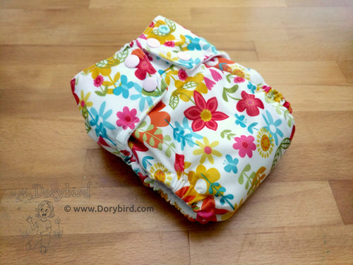 floral cloth diaper, WAHM sized cloth diaper, Chickadee cloth diapers, Dorybird, made in USA