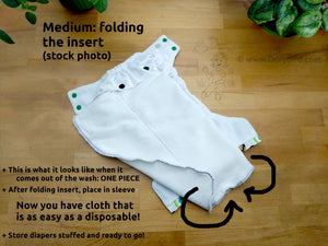 Mod Retro Green Apples Medium Chickadee Cloth Diaper (14-26 lbs) WAHM AIO -midcentury modern cloth nappy -all in one -bamboo hemp -easy to use -Made in USA