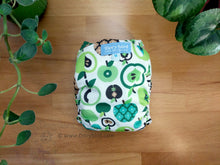 Load image into Gallery viewer, Mod Retro Green Apples Medium Chickadee Cloth Diaper (14-26 lbs) WAHM AIO -midcentury modern cloth nappy -all in one -bamboo hemp -easy to use -Made in USA