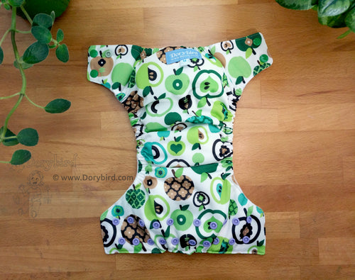 apples cloth diaper, mod retro green, Chickadee cloth diapers, handmade WAHM all in one, bamboo hemp AIO, made in USA