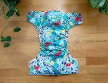 Load image into Gallery viewer, Ocean Friends Cloth Diaper -Medium Chickadee Cloth Diaper (14-26 lbs.) -WAHM daycare diaper -AIO -beach sea life -nautical birthday gift -all in one -hemp bamboo -made in USA