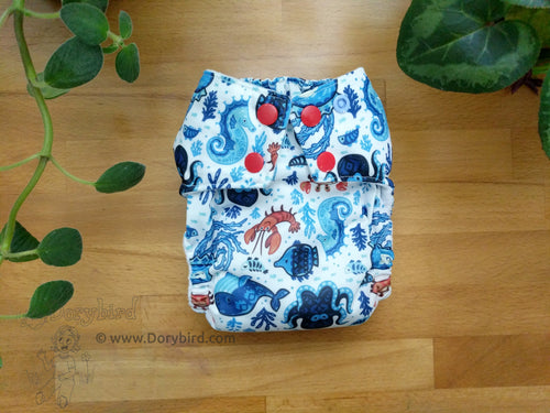 Chickadee cloth diaper, nautical cloth diaper, ocean octopus beach, WAHM cloth diaper, easy to use bamboo hemp all in one, made in USA