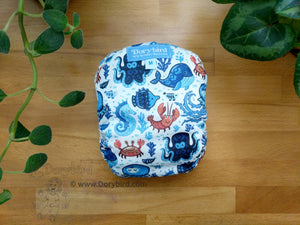 Octopus and Friends -Medium Chickadee Cloth Diaper (14-26 lbs) -easy to use WAHM cloth diaper -blue ocean AIO- cloth nappy -all in one -bamboo hemp -made in USA