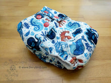 Load image into Gallery viewer, Octopus and Friends -Medium Chickadee Cloth Diaper (14-26 lbs) -easy to use WAHM cloth diaper -blue ocean AIO- cloth nappy -all in one -bamboo hemp -made in USA