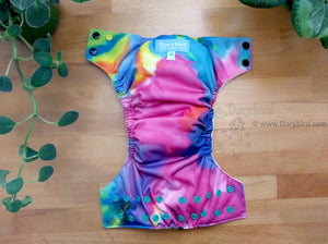 tie dye rainbow cloth diaper, Chickadee cloth diapers, WAHM bamboo hemp easy to use all in one AIO, made in USA, Dorybird