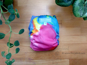 Rainbow Cloth Diaper -Medium AIO Cloth Diaper (14-26 lbs) -Rainbow Tie Dye -bamboo hemp cloth nappy -all in one -pink aqua hippie -made in USA -rainbow baby -crunchy mama gift