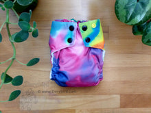 Load image into Gallery viewer, Rainbow Cloth Diaper -Medium AIO Cloth Diaper (14-26 lbs) -Rainbow Tie Dye -bamboo hemp cloth nappy -all in one -pink aqua hippie -made in USA -rainbow baby -crunchy mama gift