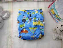 Load image into Gallery viewer, Animal Cars, Chickadee cloth diaper, Medium (14-26 lbs) -Handmade AIO diaper -cloth nappy -all in one -Zoo Traffic- Snap in trifold insert -WAHM