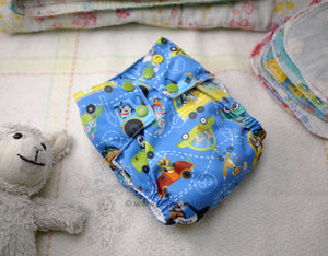 Chickadee Cloth diaper, WAHM easy to use all in one, animals in cars AIO, bamboo hemp medium cloth diaper, made in USA