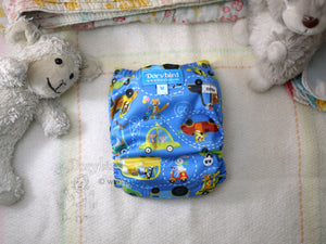 Animal Cars, Chickadee cloth diaper, Medium (14-26 lbs) -Handmade AIO diaper -cloth nappy -all in one -Zoo Traffic- Snap in trifold insert -WAHM