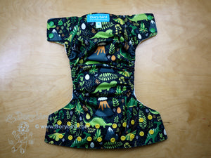 Dino Land Medium Cloth Diaper (14-26 lbs) -Chickadee Cloth Diapers -WAHM dinosaur cloth diaper -bamboo hemp AIO -modern cloth -stegosaurus triceratops -all in one