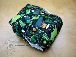 Dinosaur Cloth diaper, WAHM all in one diaper, bamboo hemp insert, made in USA, easy to use AIO, medium cloth diaper
