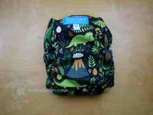 Load image into Gallery viewer, Dino Land Medium Cloth Diaper (14-26 lbs) -Chickadee Cloth Diapers -WAHM dinosaur cloth diaper -bamboo hemp AIO -modern cloth -stegosaurus triceratops -all in one