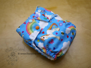 Rainbow cloth diaper, unicorn cloth diaper, Chickadee cloth diapers, easy to use WAHM all in one, bamboo hemp AIO, made in USA, Dorybird