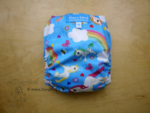 Load image into Gallery viewer, Unicorns and Rainbows Cloth Diaper -Medium (14-26 lbs) -cloth nappy -all in one -sunny blue sky ponies diaper -blue sky bees -rainbow baby