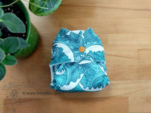Load image into Gallery viewer, Ocean Waves newborn cloth diaper (6-12 lbs) -Chickadee cloth diapers -easy to use WAHM aio diaper -nautical baby shower gift -beach surf summer -cloth nappy -made in USA