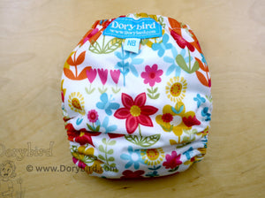 Cheerful Flowers Newborn Cloth Diaper (6-12 lbs.) -Chickadee Cloth Diaper sized AIO -WAHM all in one -wildflower garden -bamboo hemp -floral baby clothing -rainbow baby -baby shower gift