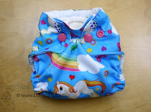Load image into Gallery viewer, newborn cloth diaper, rainbow cloth diaper, unicorns, Chickadee cloth diapers, newborn fluff, rainbow baby, WAHM newborn diaper, all in one AIO, made in USA, baby shower gift
