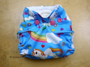 newborn cloth diaper, rainbow cloth diaper, unicorns, Chickadee cloth diapers, newborn fluff, rainbow baby, WAHM newborn diaper, all in one AIO, made in USA, baby shower gift