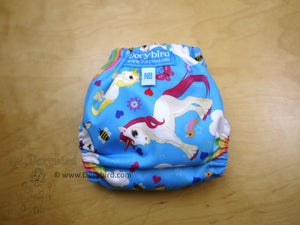 Unicorns and Rainbows newborn cloth diaper (6-12 lbs) -Chickadee cloth diapers -easy to use WAHM newborn diaper -baby shower gift -rainbow newborn diaper, rainbow baby fluff, AIO modern cloth nappy -made in USA