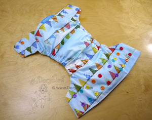 Birthday Party Pennants Medium Cloth diaper (14-26 lbs) -Colorful rainbow flags WAHM AIO -cloth nappy -all in one -rainbow baby -sunny cloud picnic -bamboo hemp -Chickadee Cloth Diapers