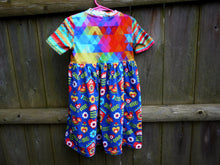 Load image into Gallery viewer, Rainbow Girls Dress -4T girls knit play dress -geometric triangle -floral -rainbow stripe -folk art birds flowers- toddler dress -birthday gift, Dorybird