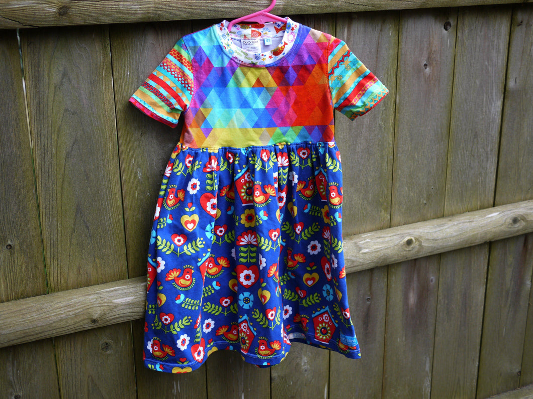 Rainbow Girls Dress -4T girls knit play dress -geometric triangle -floral -rainbow stripe -folk art birds flowers- toddler dress -birthday gift, Dorybird