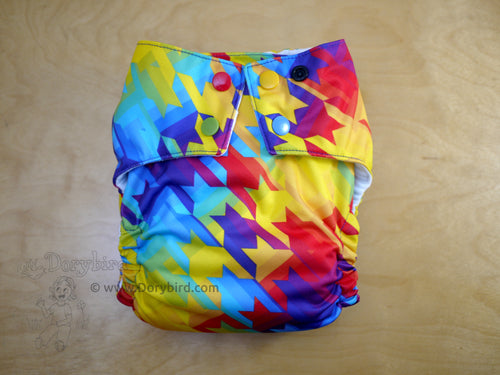 rainbow cloth diaper, Chickadee large, wahm all in one, bamboo hemp AIO, Dorybird, made in USA, toddler diaper, overnight cloth diaper