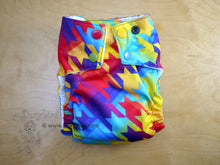 Load image into Gallery viewer, WAHM rainbow cloth diaper, Chickadee cloth diaper, medium sized, easy to use bamboo hemp cloth diaper, rainbow baby gift, made in USA, Dorybird