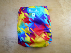 Rainbow Cloth Diaper -Medium (14-26 lbs.) Chickadee Cloth Diaper -Rainbow Stars Rainbow Stripes -WAHM cloth diaper -AIO- cloth nappy -all in one -bamboo hemp -made in USA
