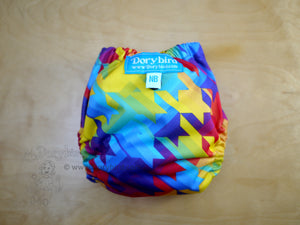 Rainbow cloth diaper -newborn cloth diaper (6-12 lbs) -Chickadee cloth diapers -easy to use WAHM newborn diaper -baby shower gift -rainbow stars rainbow stripes, rainbow baby fluff, AIO modern cloth nappy -made in USA