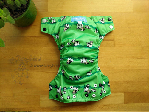 cow cloth diaper, farm animals, green, small, Chickadee cloth diapers, WAHM all in one, easy to use bamboo hemp AIO, made in USA, Dorybird