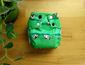 Cows Small Cloth Diaper (10-17 lbs) - Chickadee cloth diapers -cute farm animal AIO diaper- modern cloth nappy- all in one -green -country barn -bamboo hemp -sized -made in USA -WAHM