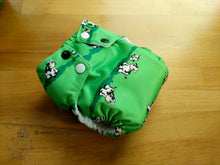 Load image into Gallery viewer, Cows Small Cloth Diaper (10-17 lbs) - Chickadee cloth diapers -cute farm animal AIO diaper- modern cloth nappy- all in one -green -country barn -bamboo hemp -sized -made in USA -WAHM
