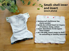 Load image into Gallery viewer, Ocean Treasures Small Cloth Diaper (10-17 lbs) -WAHM easy to use AIO diaper -nautical beach shells -all in one -bamboo hemp -starfish mermaid fish coral -Made in USA