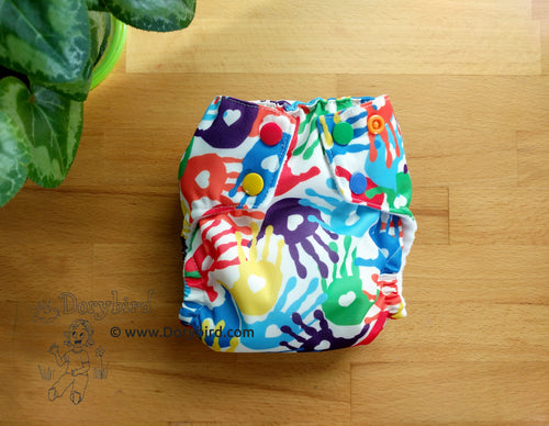rainbow cloth diaper, Chickadee cloth diaper pattern, rainbow handprints, finger painting, made in USA bamboo hemp WAHM diaper sized small, Dorybird