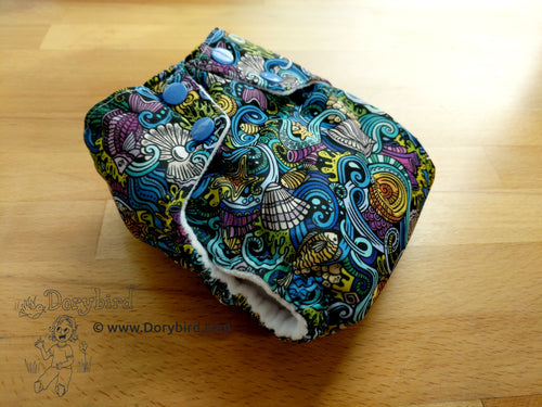 Chickadee cloth diapers, WAHM all in one diaper, bamboo hemp insert, nautical ocean treasures cloth diaper, made in USA size small