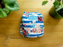 Load image into Gallery viewer, Rose Blue Stripe Small Cloth Diaper (10-17 lbs) -Chickadee Cloth Diapers -Made in USA -WAHM easy to use AIO diaper- cloth nappy -bamboo hemp -boho floral -garden -baby shower gift