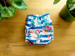 Rose Blue Stripe Small Cloth Diaper (10-17 lbs) -Chickadee Cloth Diapers -Made in USA -WAHM easy to use AIO diaper- cloth nappy -bamboo hemp -boho floral -garden -baby shower gift