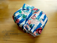 Load image into Gallery viewer, floral cloth diaper, Chickadee cloth diapers, WAHM cloth diaper, small cloth diaper, made in USA all in one, easy to use bamboo hemp AIO, Dorybird
