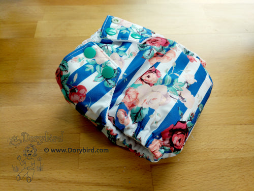 floral cloth diaper, Chickadee cloth diapers, WAHM cloth diaper, small cloth diaper, made in USA all in one, easy to use bamboo hemp AIO, Dorybird