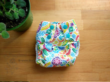 Load image into Gallery viewer, Tropical Mosaic Small Cloth Diaper (10-17 lbs) -easy to use rainbow WAHM AIO -floral summer beach -rainbow baby gift -all in one -hemp bamboo -crunchy mama gift