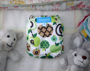 Mod Retro Green Apples, Chickadee Cloth Diaper, Small (10-17 lbs.) -WAHM AIO -midcentury modern cloth nappy -all in one -bamboo hemp -baby shower gift