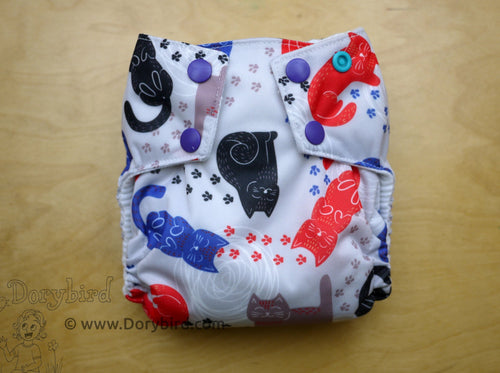 Chickadee cloth diapers, cats cloth diaper, easy to use kawaii AIO, bamboo hemp nappy, made in USA