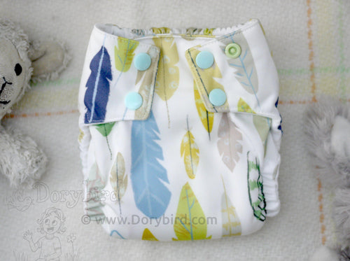 Boho Feathers Small Cloth Diaper (10-17 lbs) -AIO diaper -Handmade WAHM sized cloth diaper -modern cloth nappy -all in one -bamboo hemp